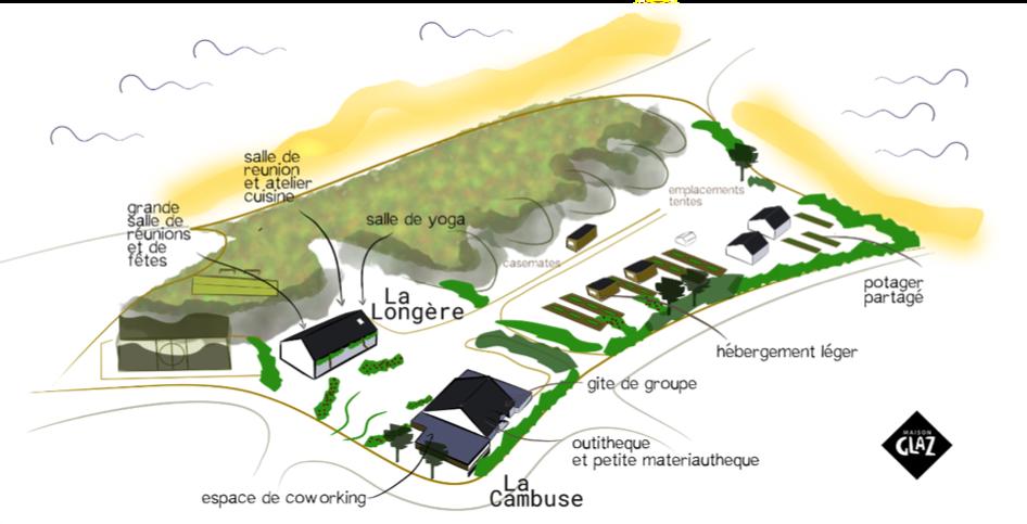 Plan du site de Maison Glaz, sur la pointe de Gâvre.